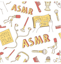 Asmr concept seamless pattern vector