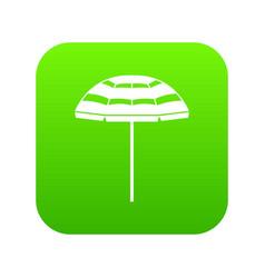 Beach umbrella icon digital green vector