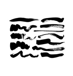 black paint wavy brush strokes collection vector image
