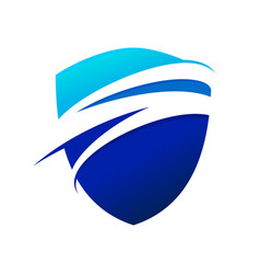 Blue wave swoosh modern shield symbol logo design vector