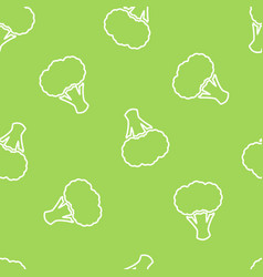 Broccoli silhouette seamless vegetable pattern vector