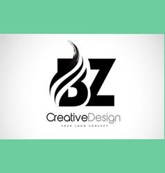 Bz b z creative brush black letters design vector