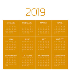 calendar - year 2019 week starts from vector image