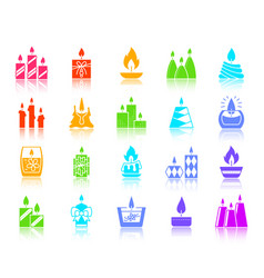 Candle flame color silhouette icons set vector