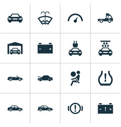 Car icons set with alert sedan caution and other vector