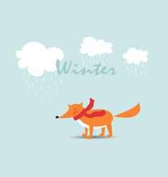 Card with cartoon fox vector