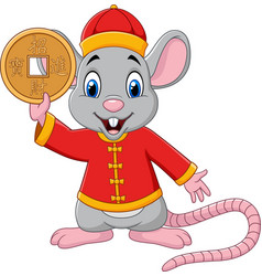 Cartoon rat in chinese traditional costume holding vector