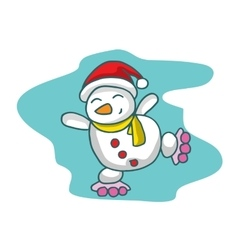 Cartoon snowman with roller skates Christmas vector