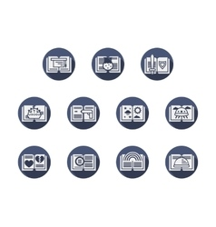 Categories of books blue round flat icons vector