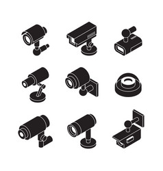 cctv isometric security cameras collection vector image