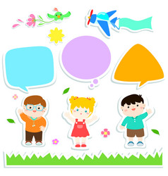 children with bubble speech sticker style design vector image