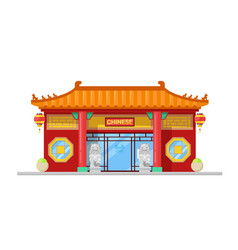 chinese cuisine restaurant building facade vector image