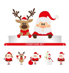 Christmas set santa claus reindeer snowman vector
