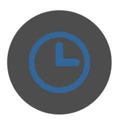 Clock flat cobalt and gray colors round button vector