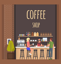 Coffe shop with barista and visitors flat banner vector