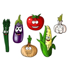 Colorful cartoon vegetables with happy faces vector image
