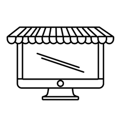 Computer shopping online white background outline vector