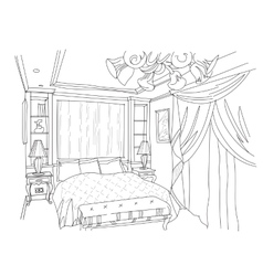 Contemporary interior doodles bedroom vector
