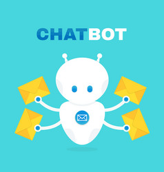Cute robot chat bot holds envelope vector