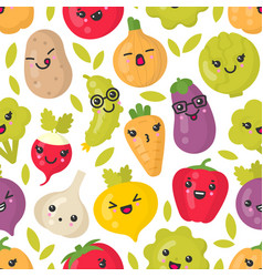 cute smiling vegetables seamless pattern vector image