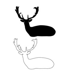 Deer silhouette icon deer outline icon set vector