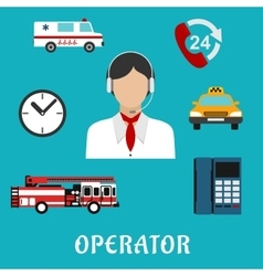 Dispatcher or operator profession icons vector