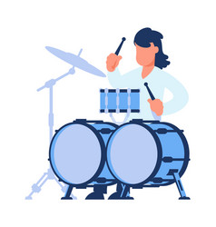 drummer man playing drums rock music player vector image