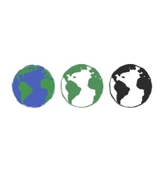 Earth grunge drawing paint icons vector image