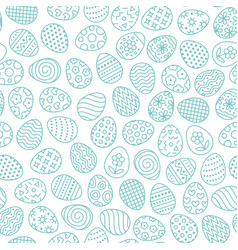 easter seamless pattern with flat line icons of vector image