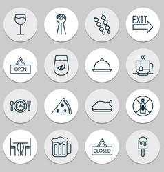 Eating icons set collection of stick barbecue vector