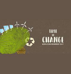 environment day banner green finger print earth vector image