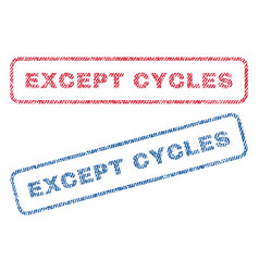 Except cycles textile stamps vector