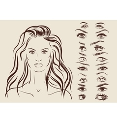 Eyes set girl character woman portrait on vector