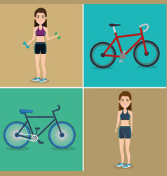 Female athletes with bicycles vector