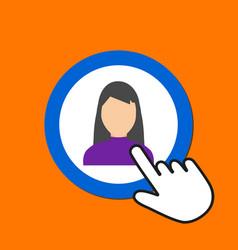 female figure icon woman avatar concept hand vector image