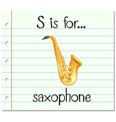 Flashcard letter S is for saxophone vector image