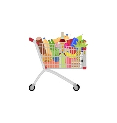Full food meal drink a shopping trolley vector