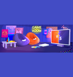 Game club room interior play video games vector