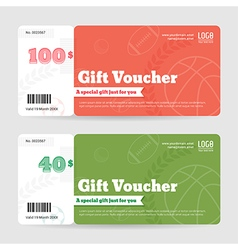 Gift Voucher Gift Certificate Orange Green sport vector