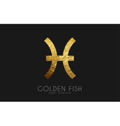 Golden fish Golden zodiac sign Fish zodiac vector image