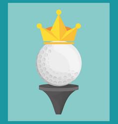 golf ball on tee crown vector image