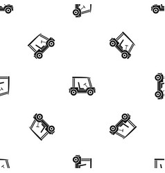 Golf club vehicle pattern seamless black vector