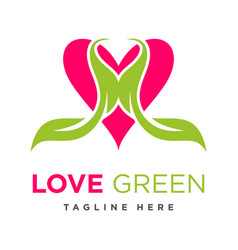 green leaf love logo vector image