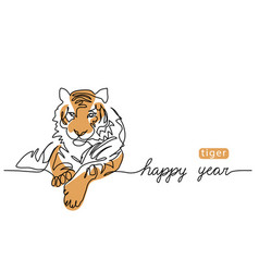 happy tiger year one continuous line art drawing vector image