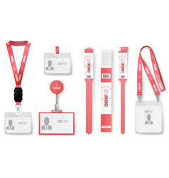 Id cards badges red identification badges on vector