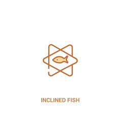 Inclined fish concept 2 colored icon simple line vector