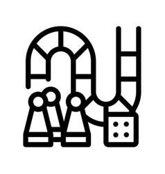 Interactive kids board game thin line icon vector