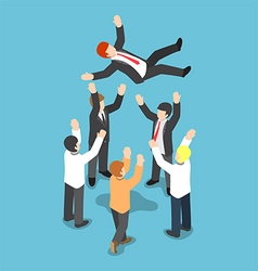 Isometric businessman being throw up in the air vector image vector image