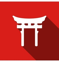 Japan Gate Torii gate icon with long shadow vector