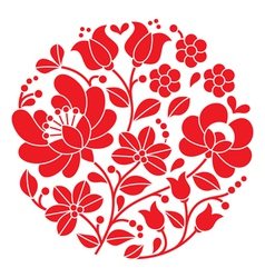 Kalocsai red embroidery - Hungarian round pattern vector